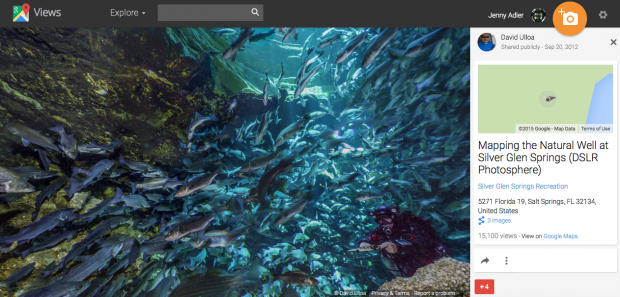 "Screenshot of the ""Google Views"" interface. This is Ulloa's photo sphere of the Natural Well at Silver Glen Springs. Users can navigate the underwater world and virtually swim with over 500 striped bass and a cave diver."